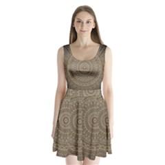 Background Mandala Split Back Mini Dress