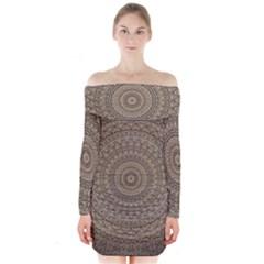 Background Mandala Long Sleeve Off Shoulder Dress