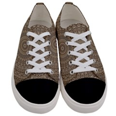 Background Mandala Women s Low Top Canvas Sneakers