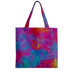 Abstract Fantastic Fractal Gradient Zipper Grocery Tote Bag