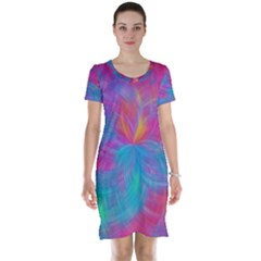 Abstract Fantastic Fractal Gradient Short Sleeve Nightdress