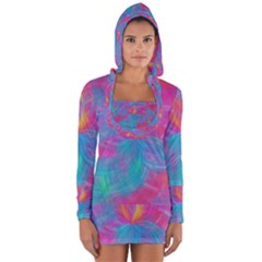Abstract Fantastic Fractal Gradient Long Sleeve Hooded T Shirt