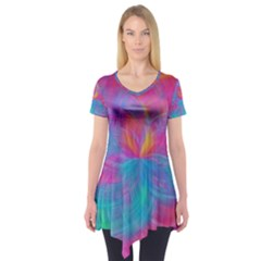 Abstract Fantastic Fractal Gradient Short Sleeve Tunic