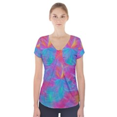 Abstract Fantastic Fractal Gradient Short Sleeve Front Detail Top