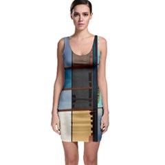 Glass Facade Colorful Architecture Bodycon Dress