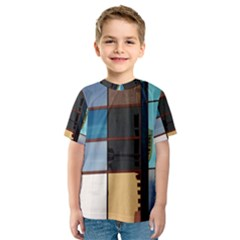 Glass Facade Colorful Architecture Kids  Sport Mesh Tee