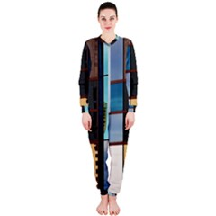 Glass Facade Colorful Architecture Onepiece Jumpsuit (ladies)