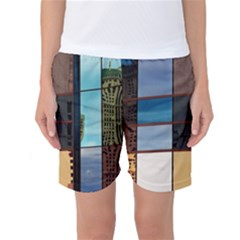 Glass Facade Colorful Architecture Women s Basketball Shorts