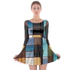 Glass Facade Colorful Architecture Long Sleeve Skater Dress