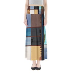 Glass Facade Colorful Architecture Full Length Maxi Skirt