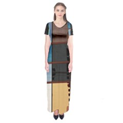 Glass Facade Colorful Architecture Short Sleeve Maxi Dress