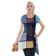 Glass Facade Colorful Architecture Short Sleeve Side Drop Tunic