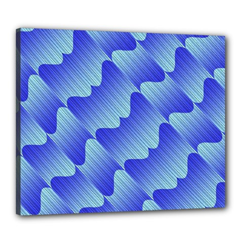 Gradient Blue Pinstripes Lines Canvas 24  X 20