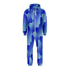 Gradient Blue Pinstripes Lines Hooded Jumpsuit (kids)