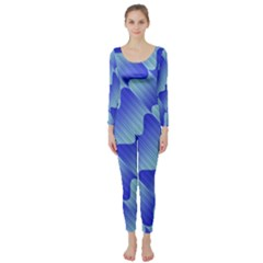 Gradient Blue Pinstripes Lines Long Sleeve Catsuit