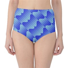 Gradient Blue Pinstripes Lines High Waist Bikini Bottoms
