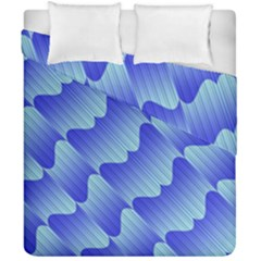 Gradient Blue Pinstripes Lines Duvet Cover Double Side (california King Size)