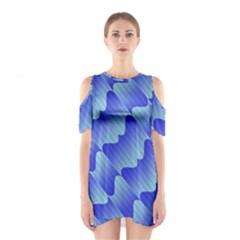 Gradient Blue Pinstripes Lines Shoulder Cutout One Piece