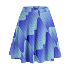 Gradient Blue Pinstripes Lines High Waist Skirt