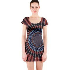 The Fourth Dimension Fractal Noise Short Sleeve Bodycon Dress