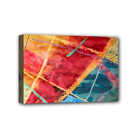 Painting Watercolor Wax Stains Red Mini Canvas 6  X 4