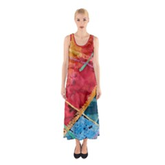 Painting Watercolor Wax Stains Red Sleeveless Maxi Dress