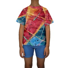 Painting Watercolor Wax Stains Red Kids  Short Sleeve Swimwear