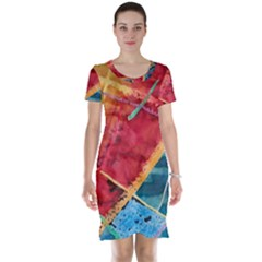 Painting Watercolor Wax Stains Red Short Sleeve Nightdress