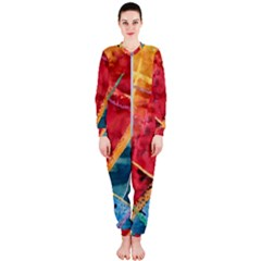 Painting Watercolor Wax Stains Red Onepiece Jumpsuit (ladies)