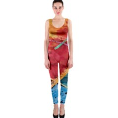 Painting Watercolor Wax Stains Red Onepiece Catsuit