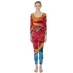 Painting Watercolor Wax Stains Red Long Sleeve Catsuit
