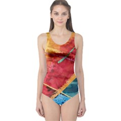 Painting Watercolor Wax Stains Red One Piece Swimsuit