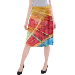 Painting Watercolor Wax Stains Red Midi Beach Skirt