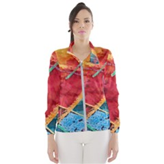Painting Watercolor Wax Stains Red Wind Breaker (women)