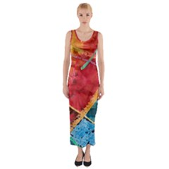 Painting Watercolor Wax Stains Red Fitted Maxi Dress