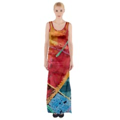 Painting Watercolor Wax Stains Red Maxi Thigh Split Dress