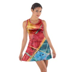Painting Watercolor Wax Stains Red Cotton Racerback Dress