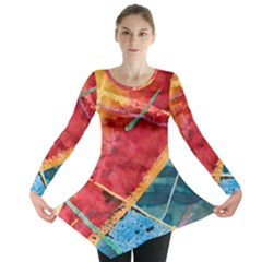 Painting Watercolor Wax Stains Red Long Sleeve Tunic