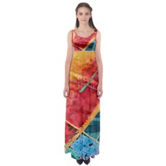 Painting Watercolor Wax Stains Red Empire Waist Maxi Dress