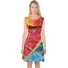 Painting Watercolor Wax Stains Red Capsleeve Midi Dress