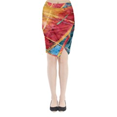 Painting Watercolor Wax Stains Red Midi Wrap Pencil Skirt