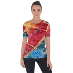 Painting Watercolor Wax Stains Red Short Sleeve Top