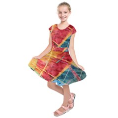 Painting Watercolor Wax Stains Red Kids  Short Sleeve Dress