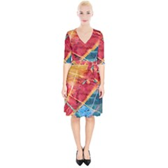 Painting Watercolor Wax Stains Red Wrap Up Cocktail Dress