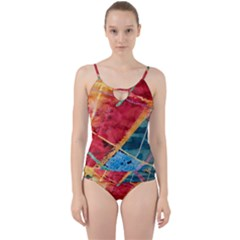 Painting Watercolor Wax Stains Red Cut Out Top Tankini Set