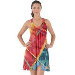 Painting Watercolor Wax Stains Red Show Some Back Chiffon Dress