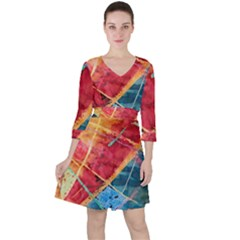 Painting Watercolor Wax Stains Red Ruffle Dress