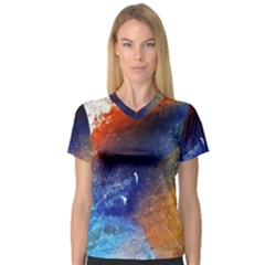 Colorful Pattern Color Course V Neck Sport Mesh Tee