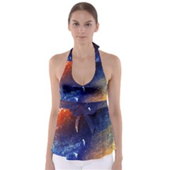 Colorful Pattern Color Course Babydoll Tankini Top