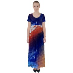 Colorful Pattern Color Course High Waist Short Sleeve Maxi Dress